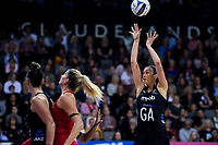 NZ goal attack Ameliaranna Ekenasio shoots for goal during the Cadbury Netball Series Taini Jamison Trophy match between New Zealand Silver Ferns and England Roses at Claudelands Arena in Hamilton, New Zealand on Wednesday, 28 October 2020. Photo: Dave Lintott / lintottphoto.co.nz