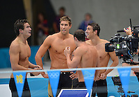 August 04, 2012..Nathan Adrian, Matt Grevers, Michael Phelps and Brendan Hansen after winning Men's 4x100 Medley Relay at the Aquatics Center on day eight of 2012 Olympic Games in London, United Kingdom.