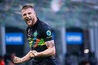 Milan, Italy - september 18 2021 - skriniar milan f.c. inter celebrating after goal 2-0  Serie A match Inter- Bologna San Siro stadium