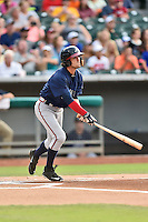 Mississippi Braves shortstop Dansby Swanson (7) swings at a pitch during a game against the Tennessee Smokies at Smokies Stadium on July 23, 2016 in Kodak, Tennessee. The Braves defeated the Smokies 3-0. (Tony Farlow/Four Seam Images)