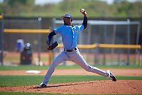Tampa Bay Rays pitcher Resly Linares (97) during a Minor League Spring Training game against the Boston Red Sox on March 25, 2019 at the Charlotte County Sports Complex in Port Charlotte, Florida.  (Mike Janes/Four Seam Images)