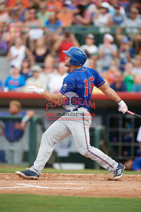 St. Lucie Mets left fielder Tim Tebow (15) hits a home run in the top of the fourth inning during a game against the Florida Fire Frogs on July 23, 2017 at Osceola County Stadium in Kissimmee, Florida.  St. Lucie defeated Florida 3-2.  (Mike Janes/Four Seam Images)