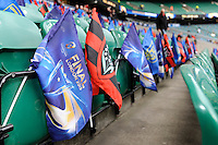 Flags put out before the start of the European Rugby Champions Cup Final between ASM Clermont Auvergne and RC Toulon