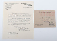 BNPS.co.uk (01202) 558833. <br /> Pic: C&TAuctions/BNPS<br /> <br /> Pictured: The letter sent to Joan, dated August 22, 1941, informing her that her husband was missing.  <br /> <br /> The poignant archive of a tragic Battle of Britain hero has been discovered in a suitcase.<br /> <br /> Flight Sergeant Eric Redfern had been married to Joan Preston for a few weeks when he was shot down and killed in 1941.<br /> <br /> The 27 year old Hurricane pilot was ambushed by German fighters during a raid on enemy supply vessels at Le Touquet in northern France.
