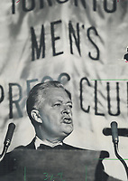Rousing orator: Jean Lesage, Quebec premier in the early 1960s who died last night, perfected his English by memorizing Shakespeare. He used the full effect of his handsome features and the theatrical voice he'd cultivated in college drama classes to sway voters in his province.<br /> <br /> 1965<br /> <br /> PHOTO :  Frank Lennon - Toronto Star Archives - AQP