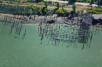 aerial photography decaying pier Richmond, Contra Costa county California