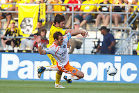 24 JULY 2010:  Danny O'Rourke of the Columbus Crew (5) and Brad Davis of the Houston Dynamo (11) during MLS soccer game between Houston Dynamo vs Columbus Crew at Crew Stadium in Columbus, Ohio on July 3, 2010. Columbus defeated the Dynamo 3-0.
