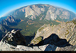 Northwest View from Taft Point in Autumn, Fisheye, Cathedral Rocks, Yosemite Valley, El Capitan, Eagle Peak Canyon and Three Brothers, Yosemite National Park