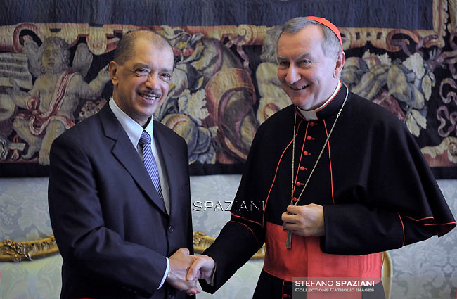 Cardinal Pietro Parolin; during a meeting with Seychelles President James Michel at the end of a private audience at the Vatican on April 30, 2015.