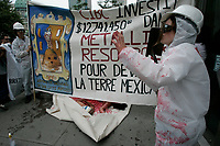 Montreal (Qc) CANADA - August 23, 2007  file photo- <br /> <br /> Protest agains Metallica Ressources in front of CIBC (canadian imperial Bank of commerce<br /> )  building in Montreal<br /> <br /> Photo (c)  Images Distribution