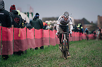 CX world champion Mathieu Van der Poel (NED/Alpecin-Fenix) leading the race<br /> <br /> UCI cyclo-cross World Cup Dendermonde 2020 (BEL)<br /> Men's Race<br /> <br /> ©kramon