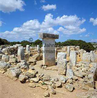 Spain, Balearic Islands, Menorca: Ancient Ruins Torralba den Salord - archaeological excavation   Spanien, Balearen, Menorca: archaeologische Ausgrabungsstaette Torralba d'en Salord (auch Torralba d'en Salort)