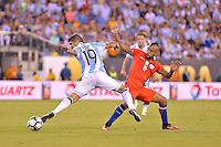 Action photo duringthe match Argentina vs Chile corresponding to the Final of America Cup Centenary 2016, at MetLife Stadium.<br /> <br /> Foto durante al partido Argentina vs Chile cprresponidente a la Final de la Copa America Centenario USA 2016 en el Estadio MetLife , en la foto:(i-d) Ever Banega de Argentina y Arturo Vidal de Chile<br /> <br /> 26/06/2016/MEXSPORT/ISAAC ORTIZ