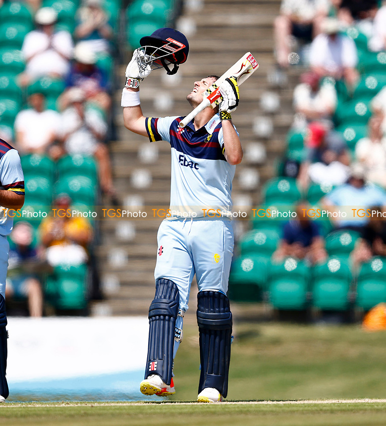 Alex Lees (R) celebrates his century for Durham during Kent Spitfires vs Durham, Royal London One-Day Cup Cricket at The Spitfire Ground on 22nd July 2021