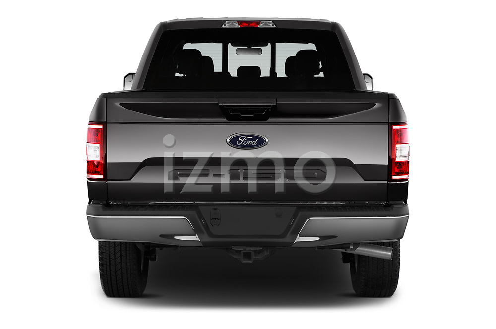 Straight rear view of 2020 Ford F-150 Lariat 4 Door Pick-up Rear View  stock images