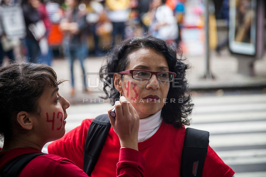 Massive protest organized by the parents of the 43 student's that went missing exactly one year ago from Raúl Isidro Burgos rural teachers college of Ayotzinapa in Iguala Guerrero. Mexico City. Sept. 26, 2015.