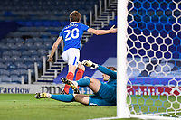 Sean Raggett of Portsmouth (20) scores the first goal and celebrates during Portsmouth vs Oxford United, Sky Bet EFL League 1 Football at Fratton Park on 24th November 2020