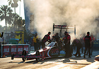 Sep 26, 2020; Gainesville, Florida, USA; Crew members for NHRA top fuel driver Billy Torrence during qualifying for the Gatornationals at Gainesville Raceway. Mandatory Credit: Mark J. Rebilas-USA TODAY Sports