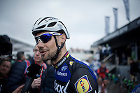 media magnet Tom Boonen (BEL/Etixx-QuickStep) interviewed at the start<br /> <br /> 114th Paris-Roubaix 2016