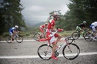 Wesley Sulzberger (AUS/Drapac) putting on a rain jacket while climbing<br /> <br /> Tour of Turkey 2014<br /> stage 4