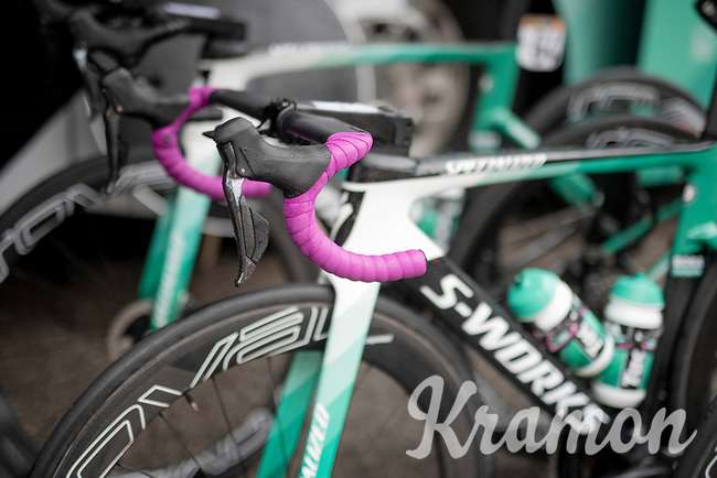 Maglia Ciclamino / points leader Pascal Ackermann (DEU/BORA-hansgrohe) with 'ciclamino' handlebar tape > ready for a super rainy stage 5<br /> <br /> Stage 5: Frascati to Terracina (140km)<br /> 102nd Giro d'Italia 2019<br /> <br /> ©kramon