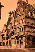 Frankfurt: View of Old Romer from FACHWERK BOOK. Reference only.
