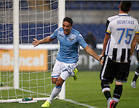 Calcio, Serie A: Lazio vs Udinese. Roma, stadio Olimpico, 13 settembre 2015.<br /> Lazio's Alessandro Matri, left, celebrates after scoring during the Italian Serie A football match between Lazio and Udinese at Rome's Olympic stadium, 13 September 2015.<br /> UPDATE IMAGES PRESS/Isabella Bonotto
