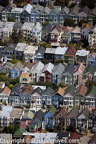 aerial photograph of rows of houses on a hill in a residential neighborhood San Francisco, California