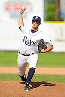Princeton Rays relief pitcher Jonathan Weaver (20) in action against the Burlington Royals at Hunnicutt Field on July 15, 2012 in Princeton, West Virginia.  The Rays defeated the Royals 3-1 in game two of a double header.  (Brian Westerholt/Four Seam Images)
