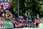 Julian Alaphilippe (FRA) Quick-Step Floors summits the brutal Mur de Huy with Alejandro Valverde (ESP) Movistar Team in 2nd place and Jelle Vanendert (BEL) Lotto Soudal in 3rd at the end of La Fleche Wallonne 2018 running 198.5km from Seraing to Huy, Belgium. 18/04/2018.<br /> Picture: ASO/Gautier Demouveaux | Cyclefile <br /> <br /> All photos usage must carry mandatory copyright credit (© Cyclefile | ASO/Gautier Demouveaux)