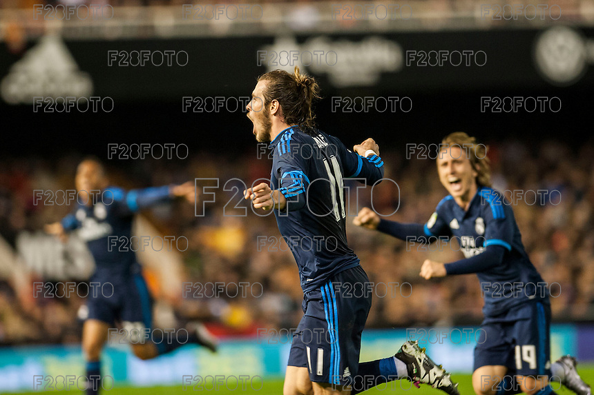 VALENCIA, SPAIN - JANUARY 3: Bale celebrating his goal during BBVA LEAGUE match between Valencia C.F. and Real Madrid at Mestalla Stadium on January 3, 2015 in Valencia, Spain