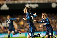 VALENCIA, SPAIN - JANUARY 3: Bale celebrating his goal during BBVA LEAGUE match between Valencia C.F. and Real Madrid at Mestalla Stadium on January 3, 2015 in Valencia, Spain