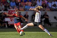 Houston, TX - Sunday Oct. 09, 2016: Christine Nairn, Samantha Mewis during a National Women's Soccer League (NWSL) Championship match between the Washington Spirit and the Western New York Flash at BBVA Compass Stadium.