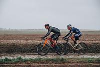 3rd October 2021, Paris–Roubaix Mens Cycling tour;  Jonathan Milan, Tim Merlier during the Paris–Roubaix which is famous for its uneven cobblestone course.