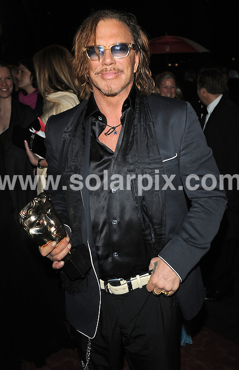 **ALL ROUND PICTURES FROM SOLARPIX.COM**.**WORLDWIDE SYNDICATION RIGHTS**.the after party to the 2009 Orange British Academy Film Awards, the BAFTAs, held at  Grosvenor House, London, UK. 8 February 2009..This pic: Mickey Rourke..JOB REF:  8424 SSD   DATE: 08_02_2009.**MUST CREDIT SOLARPIX.COM OR DOUBLE FEE WILL BE CHARGED**.**ONLINE USAGE FEE  GBP 50.00 PER PICTURE - NOTIFICATION OF USAGE TO PHOTO @ SOLARPIX.COM**