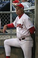 July 16, 2003:  Pitcher Coach Warren Brusstar of the Batavia Muckdogs during a game at Dwyer Stadium in Batavia, New York.  Photo by:  Mike Janes/Four Seam Images