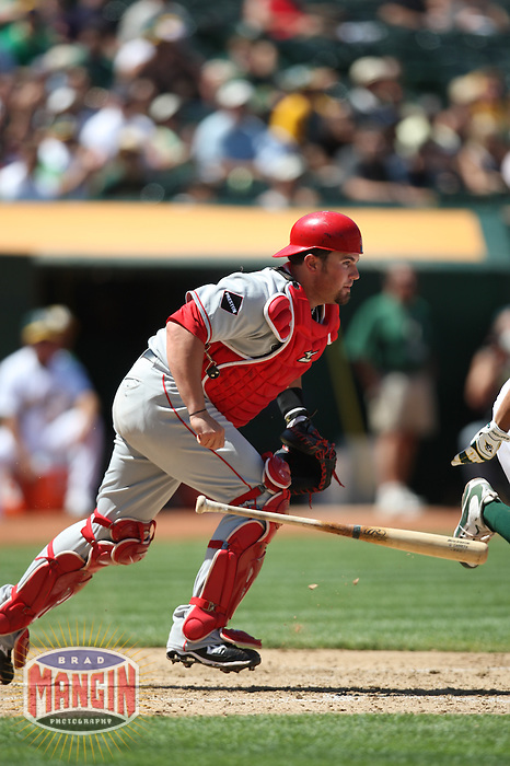 OAKLAND, CA - JULY 19:  Bobby Wilson #46 of the Los Angeles Angels of Anaheim chases a bunt against the Oakland Athletics during the game at the Oakland-Alameda County Coliseum on July 19, 2009 in Oakland, California. Photo by Brad Mangin