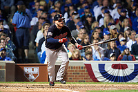 Cleveland Indians Roberto Perez (55) hits a single in the seventh inning during Game 3 of the Major League Baseball World Series against the Chicago Cubs on October 28, 2016 at Wrigley Field in Chicago, Illinois.  (Mike Janes/Four Seam Images)