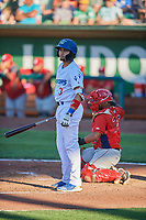 Ramon Rodriguez (3) of the Ogden Raptors bats against the Orem Owlz at Lindquist Field on June 19, 2018 in Ogden, Utah. The Raptors defeated the Owlz 7-2. (Stephen Smith/Four Seam Images)