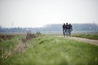 Ian Stannard (GBR/Sky), Andrew Fenn (GBR/SKY) & Bernie Eisel (AUT/SKY) riding over the infamous Roubaix cobbles<br /> <br /> 2015 Paris-Roubaix recon with Team SKY