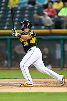 Juan Graterol (34) of the Salt Lake Bees at bat against the Tacoma Rainiers in Pacific Coast League action at Smith's Ballpark on June 13, 2016 in Salt Lake City, Utah. The Rainiers defeated the Bees 3-1. (Stephen Smith/Four Seam Images)