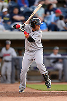Great Lakes Loons catcher Webster Rivas (13) at bat during a game against the West Michigan Whitecaps on June 5, 2014 at Fifth Third Ballpark in Comstock Park, Michigan.  West Michigan defeated Great Lakes 6-2.  (Mike Janes/Four Seam Images)