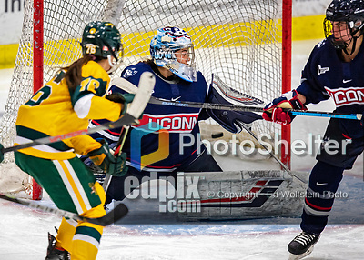 8 February 2020: University of Connecticut Husky Goaltender Samantha Carpentier-Yelle, a Sophomore from Bromont, Quebec, gives up a third period goal to the University of Vermont Catamounts at Gutterson Fieldhouse in Burlington, Vermont. The Huskies defeated the Lady Cats 4-2 in the first game of their weekend Hockey East series. Mandatory Credit: Ed Wolfstein Photo *** RAW (NEF) Image File Available ***
