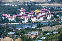 Punakha, Bhutan.  Punakha Dzong (Monastery, Fortress).  Mo River in foreground, Pho River in Background.