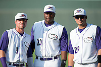 (L-R) Jake Peter (3), Keon Barnum (20) and Nick Basto (29) of the Winston-Salem Dash pose for a photo prior to the game against the Wilmington Blue Rocks at BB&T Ballpark on July 30, 2015 in Winston-Salem, North Carolina.  The Dash defeated the Blue Rocks 7-3.  (Brian Westerholt/Four Seam Images)