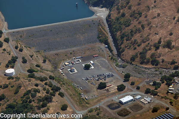 aerial photograph of the Rector Creek Dam which impounds the waters of the Rector Reservoir, Napa County, California