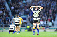 Dominic Bird of Barbarians shows his disappointment after losin the Killik Cup match between Barbarians and Australia (36-40) at Twickenham Stadium on Saturday 1st November 2014 (Photo by Rob Munro)
