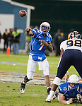 Air Force quarterback Tim Jefferson completes a pass during the first half in then Military Bowl at Robert F. Kennedy Stadium in Washington, D.C. on December 28, 2011.
