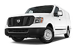Stock pictures of low aggressive front three quarter view of a 2015 Nissan NV Cargo 2500 Standard Roof S V6 Door Cargo Van Low Aggressive