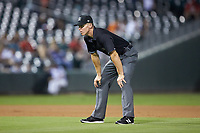 Third base umpire Chris Graham during the International League game between the Buffalo Bison and the Charlotte Knights at BB&T BallPark on August 14, 2018 in Charlotte, North Carolina. The Bison defeated the Knights 14-5.  (Brian Westerholt/Four Seam Images)